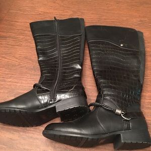 Black 7 wide calf tall riding boots